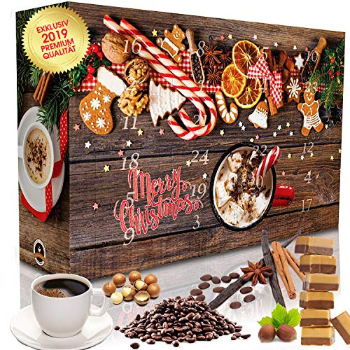 Kaffee-Adventskalender 24 aromatisierte Kaffees - ganze Bohnen oder gemahlen