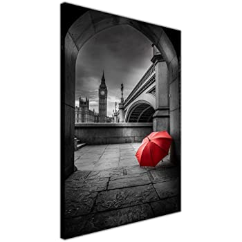 Black And White Red Umbrella Under Big Ben Black And White Framed