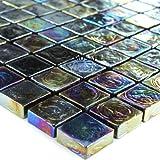 Glasmosaik Fliesen Effekt Mosaik Petrol Black