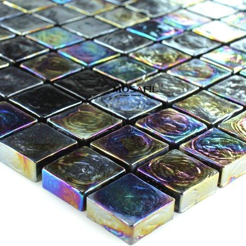 Mosaikmatte schwarz Wandverblender
