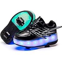 Unisex Kids Technical Skateboarding Shoes Skates Flashing Light up LED USB Rechargeable Wheels Retractable Sport…