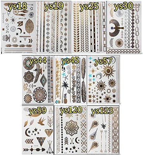 iplus-10-pcs-gold-silver-bling-temporary-tattoos-feather-design-metallic-tattoos-for-women-girls-typ