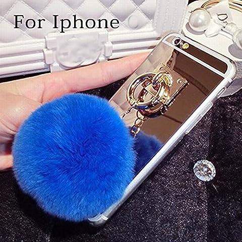 iPhone 6–lu2000Apple iPhone 6(4.7) pulgadas Furry efecto 3d, diseño piel de conejo Fluffy teléfono móvil Perla Bling cristales diamantes Sparkle BEDAZZLED Jeweled, compatible con Apple iphone 6s