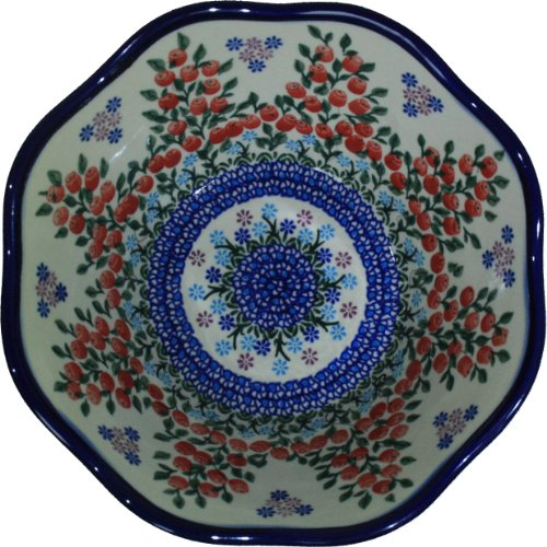 Polish Pottery Ceramika Boleslawiec 0424/282 Royal Blue Patterns 6-1/2-Cup Viki Bowl, Red Berries and Daisies Red Berry Bowl