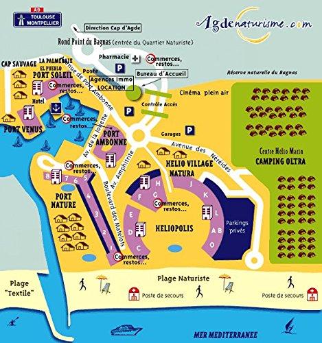 Agde, plan-guide : La cité, le Cap, le Grau, la Tamarissière par Hervé Monfort