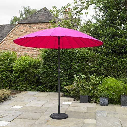 Kingfisher Aluminium Shanghai-Sonnenschirm mit Kurbel und Kippwinkel, Pink, 2,6m x 2,6m Outdoor Gartenmöbel