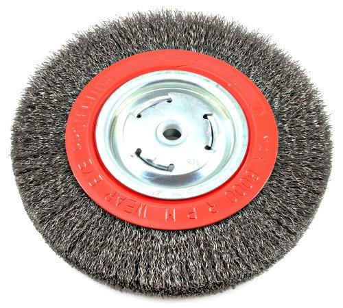 Forney 72762Laufrad Bench Draht Bürste, breit Gesicht grob verquetschen mit 1/2Zoll und 5/8Zoll Arbor, 8-inch-by-.014-inch -