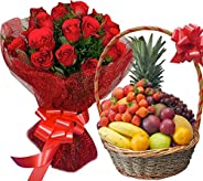 Sattva Flower Boutique 20 Red Roses with 2 kg Fresh Fruits in a Basket (Standard Size, Light Yellow)