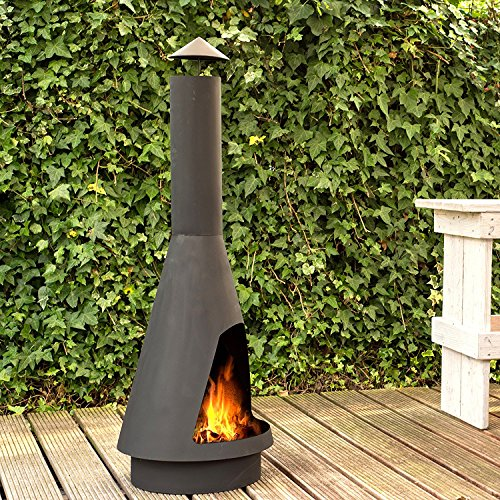 Terrassenofen La Luz - Gartenofen Gartenkamin Kamin Feuerstelle Feuerkorb El Classico Hitzebeständiges Schwarzes Finish Hohe Qualität (140)