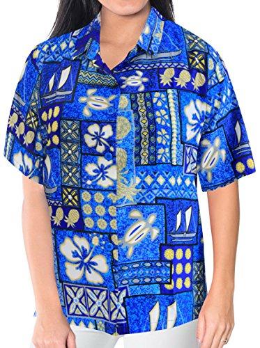 La Leela tropische karibische Damen glatt likre Taste 4 nach unten in 1 Hawaii Party Aloha Thema Casuals Urlaub Lounge Geschenk Bluse fit Top Kleid hawaiische Frauen Shirt hell blau entspannt Blau
