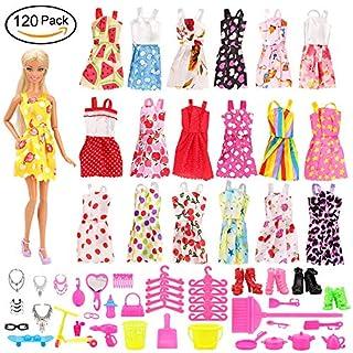 Miunana 120 PCS = 105 Accessories Zubehör Ständer Kleiderständes Schuhe + 15 Kleidung Kleid Dress für Barbie Puppen Doll