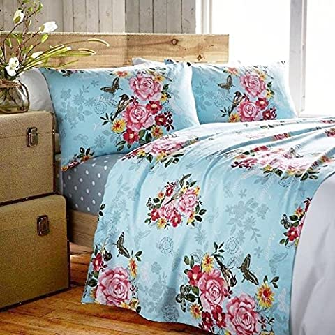 Marmorino Butterfly Roses Birds Flannel Cotton Fitted and Flat sheet set with Pillowcase (King, Marmorino Teal)
