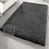 FB FunkyBuys® Large Small Modern Soft Touch Shaggy Thick Luxurious 5cm Dense Pile Bedroom Rug - Available in 12 Vibrant Colors & 4 Sizes (Black, 160 x 230 cm)