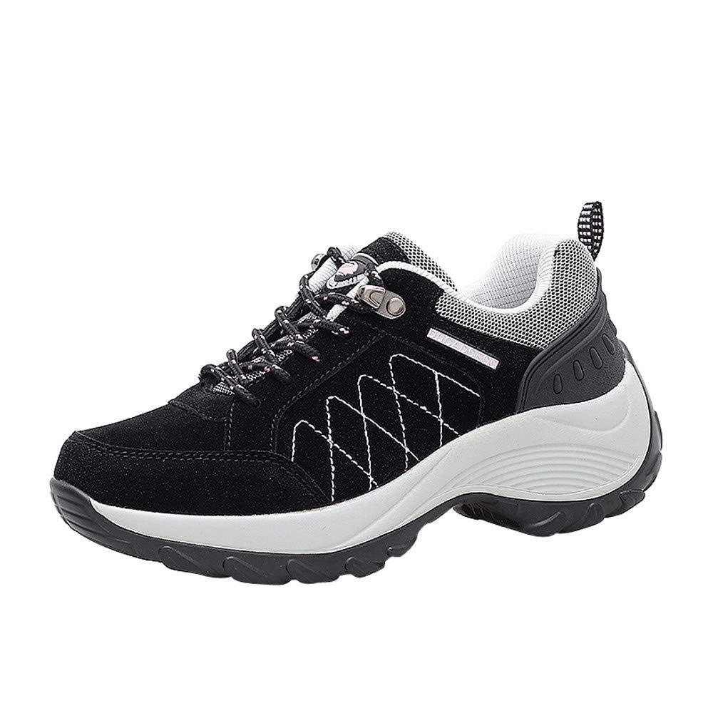 Odejoy Mode Frau Erhoht Schuhe Nubuk Leder Beilaufig Sport Plattform