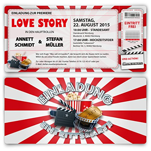 Hochzeit (30 Stück) als Kino Ticket Film Theater Hollywood Einladung ()
