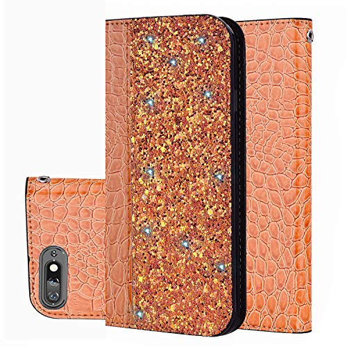 Slynmax Huawei P Smart Phone Case Flip Leder Wallet Starke Magnetische Automatik Saugnapf Glänzend Krokodil Muster Gold Orange