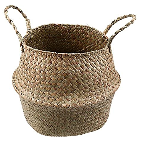 Seagrass Woven Basket, GOODCHANCEUK Natural Belly Basket With Handle Foldable Flower Vase Hanging Pot Decorative