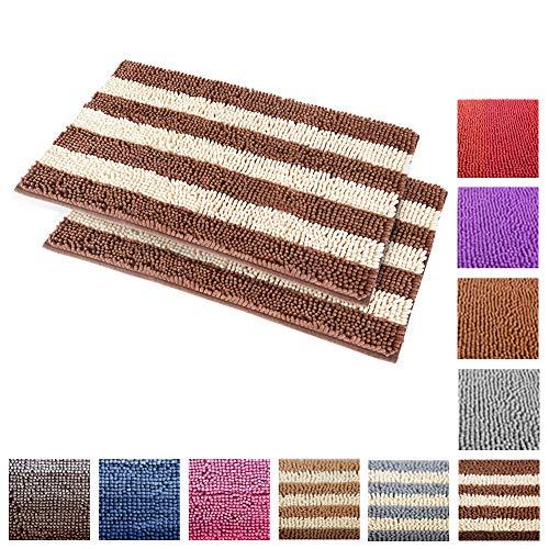 Chenille-2 Stück (carvapet 2Stück Rutschfesten Badteppich Hohe saugfähig Mikrofaser Weiche Chenille Bereich Teppich Beige/Braun)