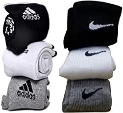 Fine Drapes Unisex Cotton Socks with ADS and NK Logo, One Size (Black, White and Grey, SOCKS-ADNK-02)
