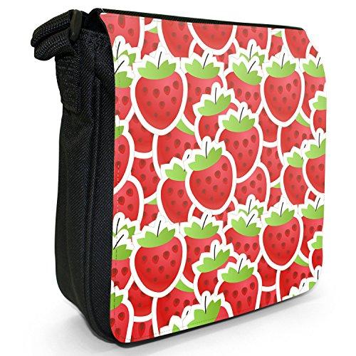 Graphical frutta-Borsa a tracolla in tela, piccola, colore: nero, taglia: S Nero (Strawberry Fruit)