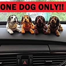 Crispy Deals Multi Color Car Dashboard Toy, Shaking Head Dog Figurine Mullti-Color