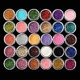 Glitter Eyeshadow LuckyFine 30 Farben Mix Glitter Puder Lidschatten Eyeshadow Kosmetik Schminke Makeup Set -