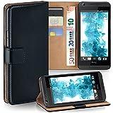 HTC Desire 816 Hülle Schwarz mit Karten-Fach [OneFlow