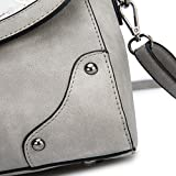 The Best Gift Ladies Leather Vintage Handbags Designer Cross-body Handles Bag with Bow For Women (Grey)