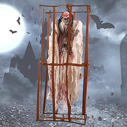 Enjoygoeu Halloween Deko Geist Horror Figuren 90cm Käfig Gefangener Skelett Grusel Hängend Horror Dekoration Prop mit Leuchtenden Augen Sound Control (Weiss)