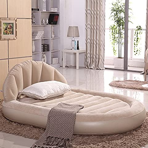 FEI&S Deluxe respaldo ovalado cama hinchable aire colchón inflable cama tamaño 215*152*60,cama + bomba de mano