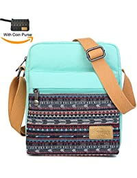 Girls Crossbody Purse Small Canvas Organizer Striped Messenger Bag Shoulder Bag For Traveling (Teal) By Kemy'S