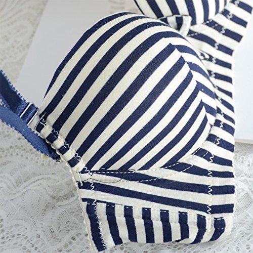 Brightup Frauen Glatte gestreifte BH Unterwäsche Höschen Set gepolsterter BH Strand Sets Blau