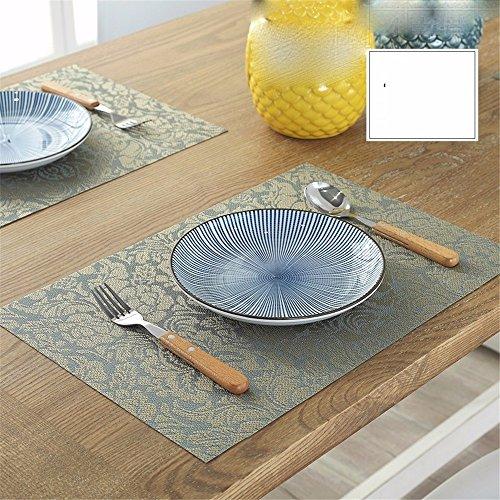 XXSZKAA Creative Color Impression Table Mat Table De Cuisine Décoration Ouest Coussin De Table Européen Rectangulaire Isolée en PVC, Vert 4 Pièces, 45 * 30 Cm