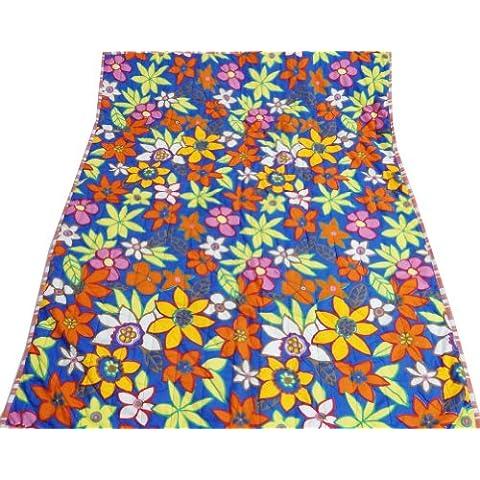 Decorativo azul mano reverssible Cama Colcha Edredón del bebé del algodón del patrón floral Gudri India 49