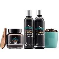 mCaffeine Coffee Hair Fall Control Kit with Protein, Redensyl, Natural AHA & Argan Oil | Shampoo, Hair Oil, Scalp Scrub…