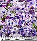 Soimoi Blau Baumwolle Ente Stoff Blätter, Blumen &