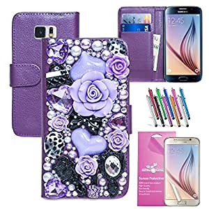 EpicGadget Fairy Flower Diamante Flip Leather Case Cover with Card Pockets and Cash Slot for Samsung Galaxy S6 SM-G9200 (Purple Fairy Floral)