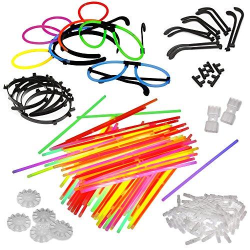 100 Knicklichter inkl. 100 Verbinder 5 Leuchtbrille 5 Leucht Haarreifen 5 Kreisverbinder 2 Flexverbinder