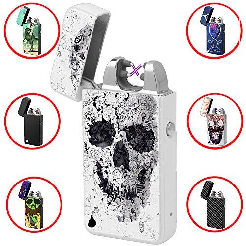 Elektronisches Feuerzeug -The Flame X- USB Feuerzeug Zigarettenanz&uumlnder Elektrische Feuerzeuge Aufladbar Double Lichtbogen (Psycho Skull)