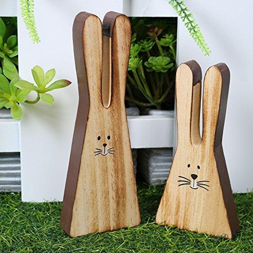 Valery Madelyn Ostern Osterhase Holzfigur Tischdeko Garten Dekoration 15.5 cm / 11.6 cm 2er Set Outdoor-Paradies Hase Figure Dekofigur für Familie