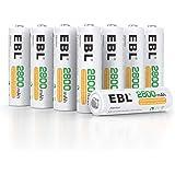 EBL AA Akku 2800 mAh 8 Stück - Mignon AA wiederaufladbare Batterien Typ Ni-MH geringe Selbstentladung mit Staubkasten, 1.2v AA Akkubatterien