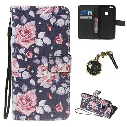 Preisvergleich Produktbild PU für Huawei P10 Lite (13.2 cm (5.2 Zoll) Hülle – Premium Luxuriös PU lederhülle [Vollständigen Schutz] [Kreditkartenfach] Flip Brieftasche Schutzhülle im Bookstyle für Huawei P10 Lite +Staubstecker (8)