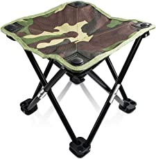Foldable Stool for Travelling, Camping, Car, Lawn and Home by Random | Ideal for Both Adults and Kids | Quad Leg | Military Camouflage Green