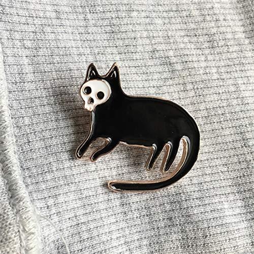 Yesiidor Cartoon Katze Schädel Brosche Emaille Brosche Kreative Schöne Kleidung Taschen Rucksäcke Revers Pin Denim Jacke Abzeichen Zubehör