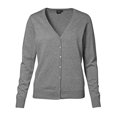 ID Womens/Ladies Knitted Button Up Cardigan Jumper (2XL) (Grey ...