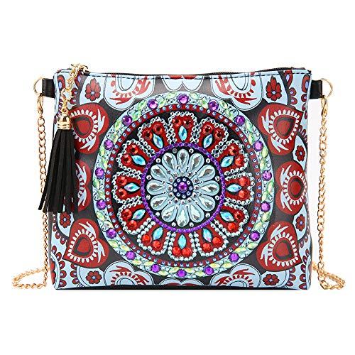 5D Diamond Painting Cross-Body Tasche mit Kette, Kristall Quaste Reißverschluss Handtasche Strass Leder Geldbörse Clutch, Make-up Schultertasche für Mädchen Frauen B