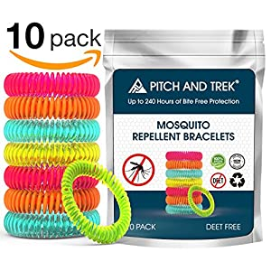 61NpCIuRIcL. SS300  - Pitch and Trek® - Mosquito Repellent Bracelet 10 PACK - Fits All - Citronella All Natural DEET Free Anti Insect Bands - KEEP AWAY MIDGES - Waterproof Outdoor Bug Repeller Wristbands Safe For Children