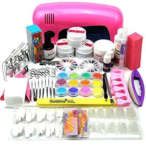 Coscelia Pro UV Gel Lamp Dryer Nail Art Acrylic Powder French Tips Salon Kit (9W pink)