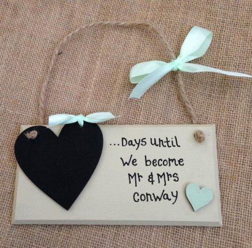 Holzschild, personalisierbar, handgefertigt, 'Mint grün Heart'Tafel, COUNTDOWN bis zur Hochzeit, Motiv MR MRS