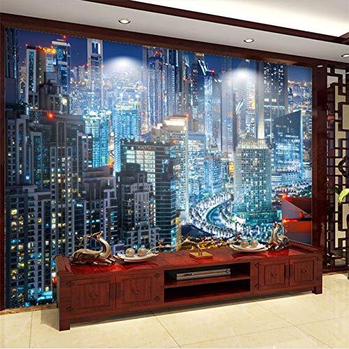 Wallpaper 3D werbungHigh-Definition-Nachtszenen New York City Lichter Türme TV Hintergrund Wand benutzerdefinierte großes Wandbild grüne TapeteFototapete 3d effekt